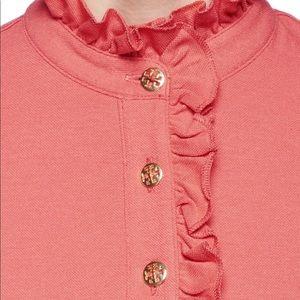 Tory Burch Short Sleeve Ruffled Shirt